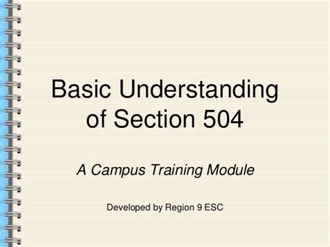 section 504 training 504 basics presentation