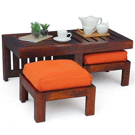 Wooden Square Coffee Table With Four Stools by Coffee Table With Stools Invites More Friends To Hang Out