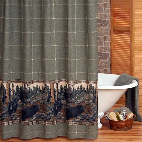 the bears shower curtain and valance cabin place