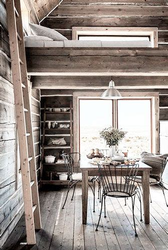 cabin dining ladder  loft space rustic house