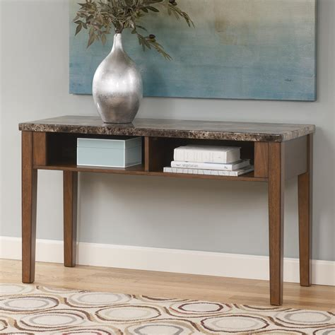 faux marble sofa table sofa table tv console with faux marble top by signature