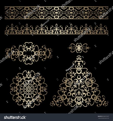 gold vintage design elements vector vector set of vintage gold ornamental borders and swirly