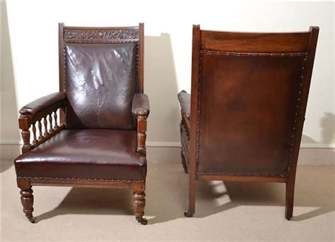 antique pair of leather armchairs circa 1880 for