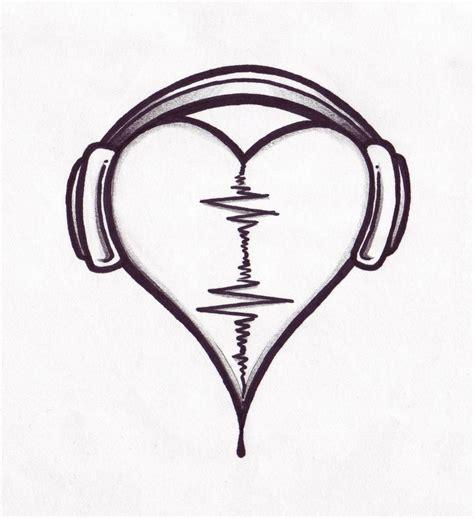 heart music tattoo designs beat design