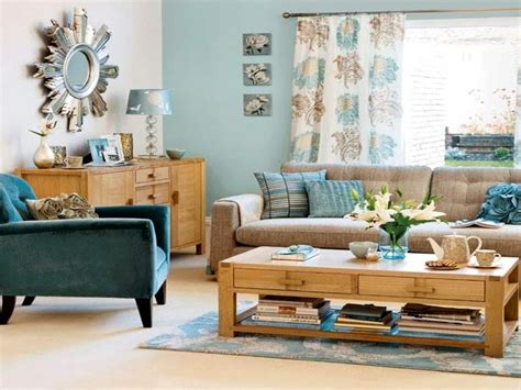 living room with brown sofa duck egg blue