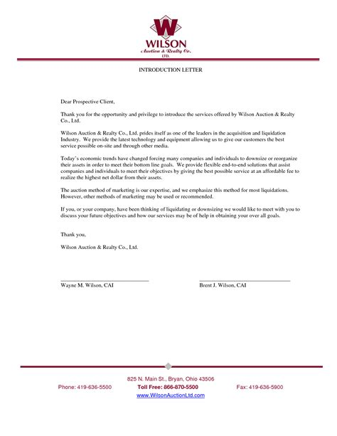 Business Introduction Letter Model business introduction letter free business template
