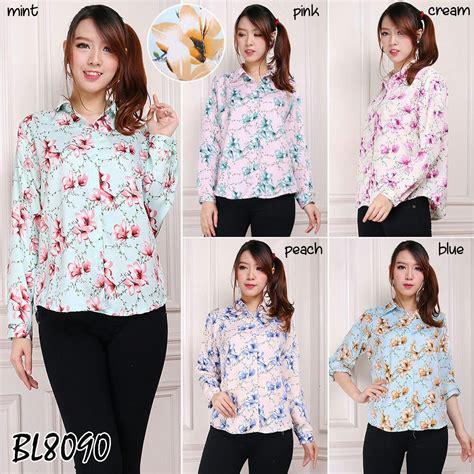 Dompet Wanita 8090 by Baju Atasan Kemeja Lengan Panjang Motif Bunga Kerja Kantor