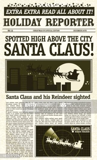 vintage santa claus sighting front page newspaper high res
