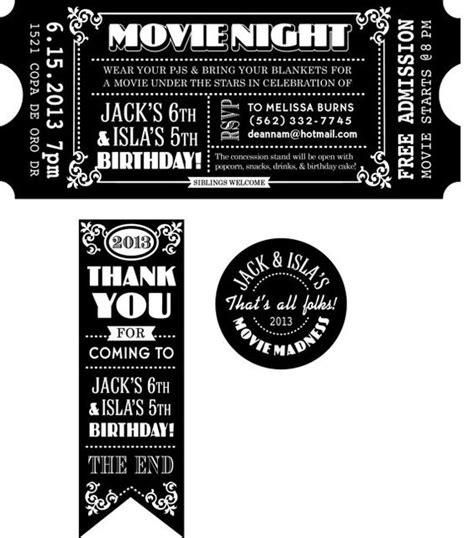 printable tickets invitations customized movie ticket invitation printable movie party