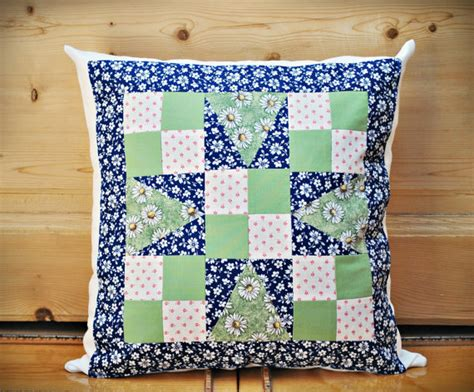 Patchwork Pillow Pattern - quilted patchwork pillow cover throw pillow flower pattern