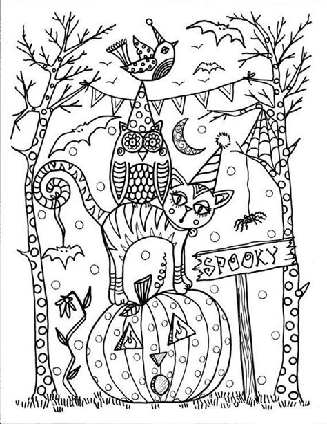 free coloring pages of zentangle halloween