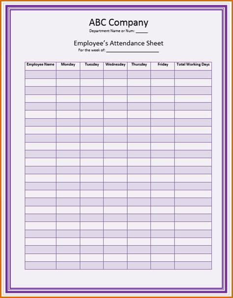 employee attendance sheet template 8 attendance sheet template authorizationletters org