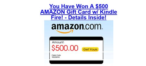 Amazon Web Services Gift Card - subscription scam you ve won amazon 500 gift card with kindle fire
