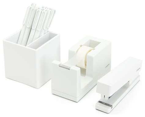 Modern Desk Supplies Starter Office Set White Contemporary Desk Accessories