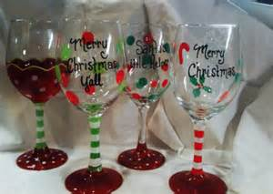 Homemade Personalized Christmas Ornaments - christmas wine glass hand painted custom order personalized