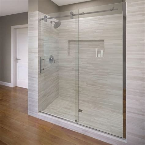 Bosco Shower Doors Basco Vinesse 47 In X 76 In Semi Framed Sliding Shower Door And Fixed Panel In Chrome Vnxa