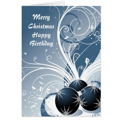 Happy Birthday And Merry Card Merry Christmas Happy Birthday Greeting Cards Zazzle