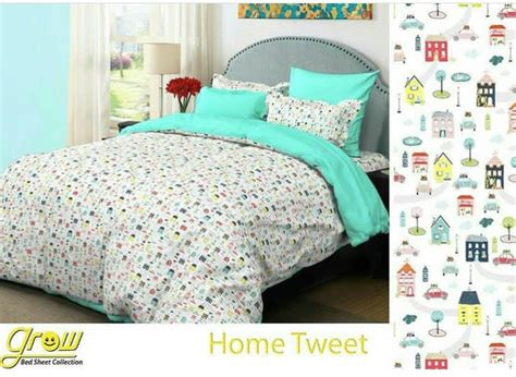 Sprei Bahan Katun Grow Uk 180 200 20 20 detail product sprei dan bedcover home tweet biru toko