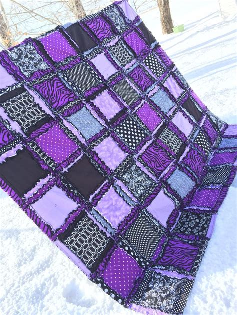 Zebra Patchwork Quilt - zebra rag quilt bedding purple black to