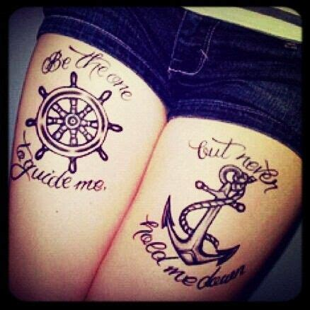 sailor couple tattoo i like the quote and the meaning the 2 symbols