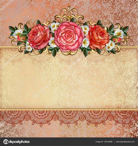 imagenes de rosas vintage fondo vintage dorado flores de guirnaldas de rosas pastel