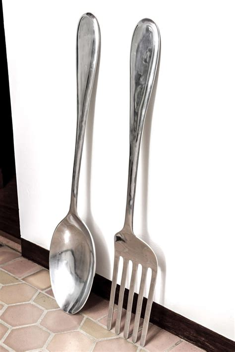 wall decor spoon and fork large fork and spoon wall hanging at 1stdibs