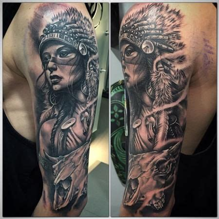 pinterest tattoo indian tattoos realistic indian girl black and grey cow skull