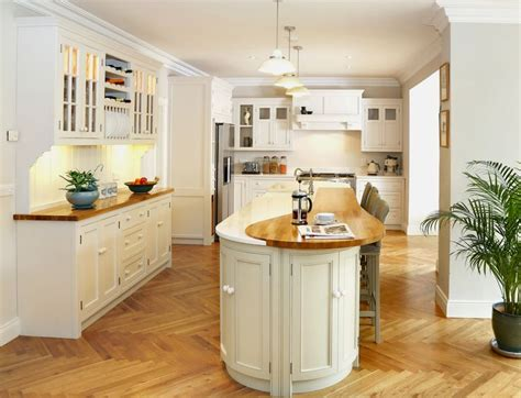Oak Kitchen Island With Seating Bespoke Painted Inframe Kitchen With Wooden Oak And White Quartz Worktops Narrow Curved