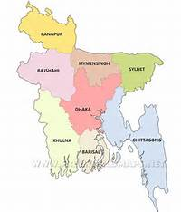 Bangladesh Divisions Map  Showing The Administrative Of