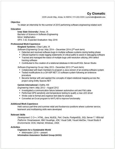sle resume for co op student college exle resumes engineering career services iowa state