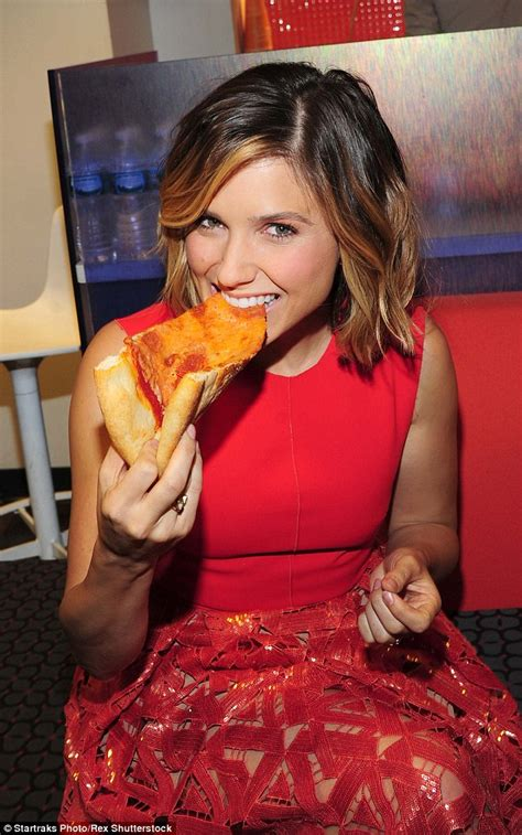 sophia bush tattoo bush chows on pizza before tv appearance