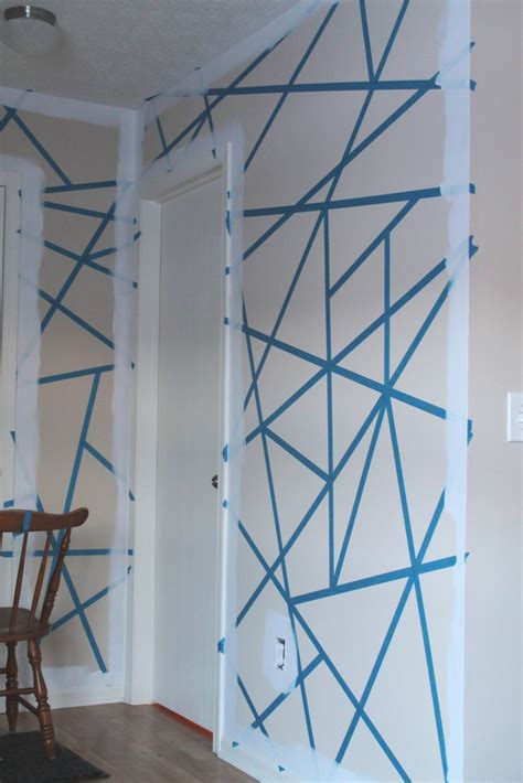 pattern tape wall art diy painter s tape accent wall the spiffy cookie