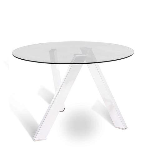 tavolo vetro tondo tavolo tondo rond 242 di stones con base in metallo e top in
