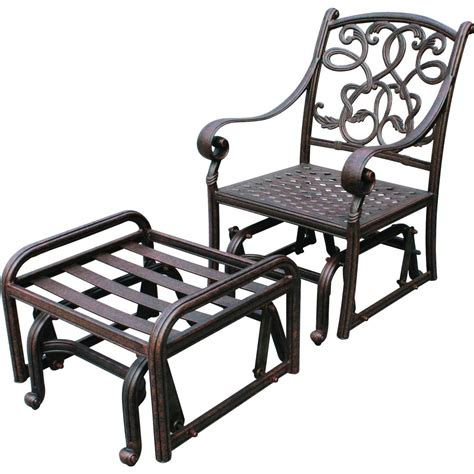 Glider Patio Chair Darlee Santa Cast Aluminum Patio Glider Club Chair With Ottoman Shopperschoice