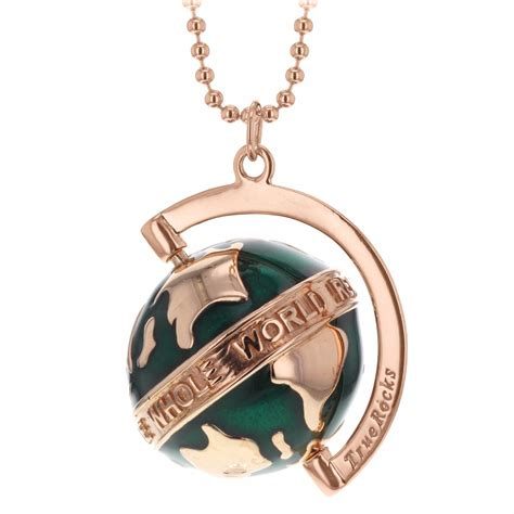 small spinning globe necklace rose gold green enamel