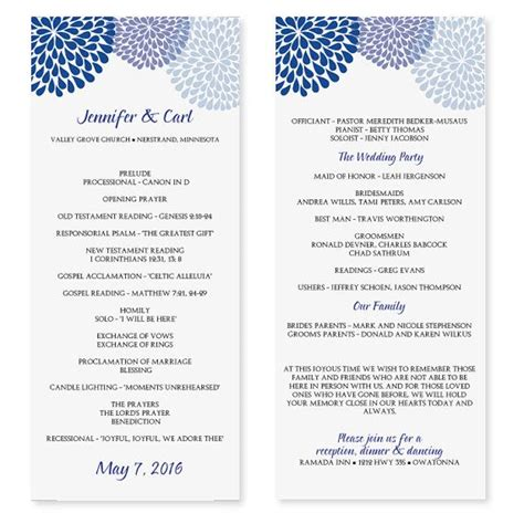 wedding program word template wedding program template chrysanthemum blue tea length