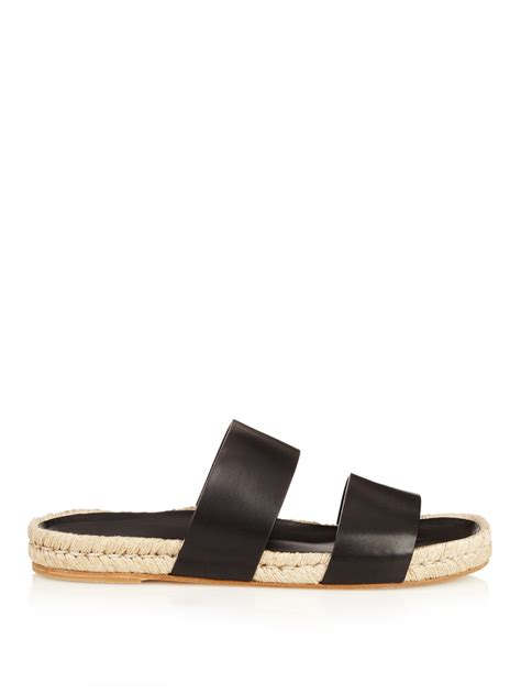 espadrille sandals lyst balenciaga leather espadrilles sandals in black for