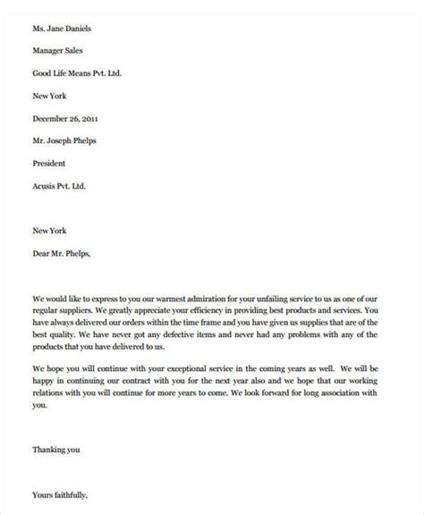 appreciation letter performance 41 appreciation letters in pdf
