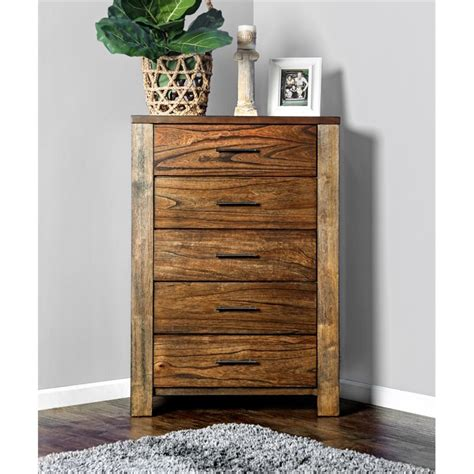 furniture of america gilbert 5 drawer chest in oak idf 7072c