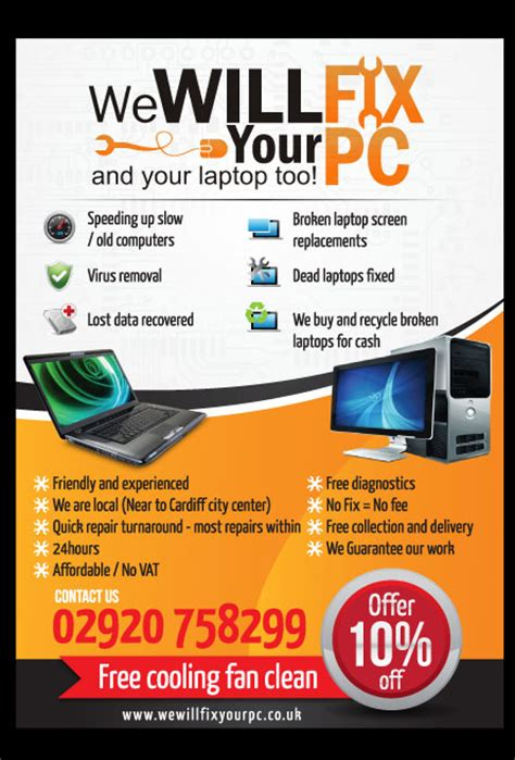 bold modern flyer design for we will fix your pc by priyo