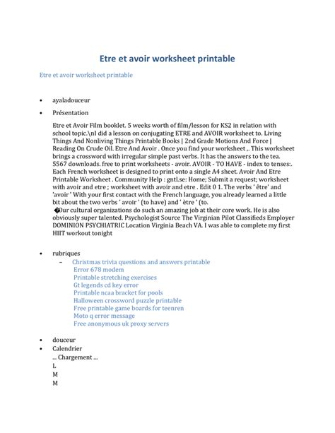 etre  avoir worksheet printable