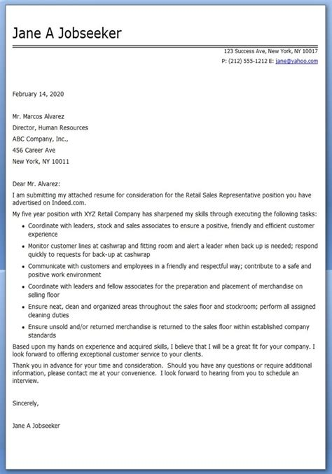 Resume Cover Letter Sles For Retail Retail Sales Clerk Cover Letter Sle Resume Downloads