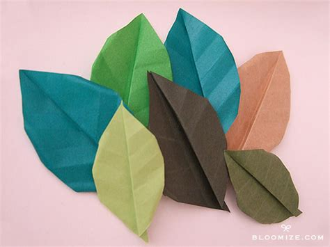 Origami Flower Leaves - origami leaf with or without veins bloomize