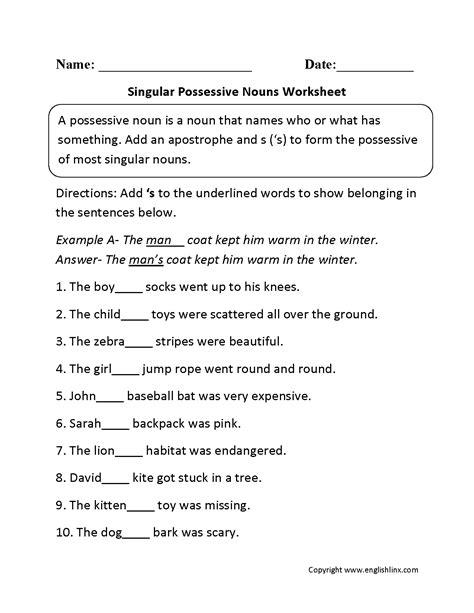 Singular Possessive Nouns Worksheet by Singular Possessive Nouns Worksheets Downloads