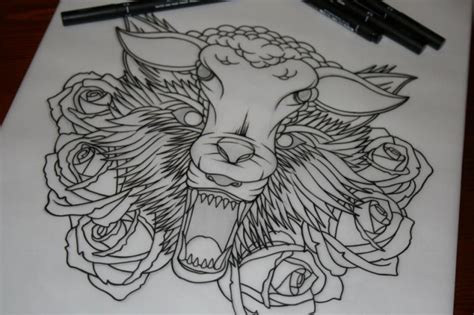 wolf in sheeps clothing tattoo wonderful outline sheep and wolf heads surrounded with