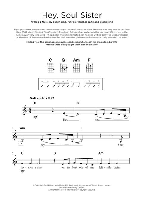 ukulele tutorial for hey soul sister train hey soul sister sheet music