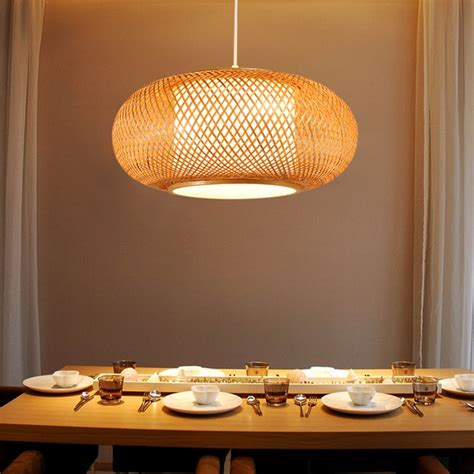 hand knitted bamboo rattan pendant light cord