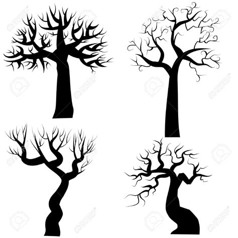 silhouettes of spooky halloween trees royalty free