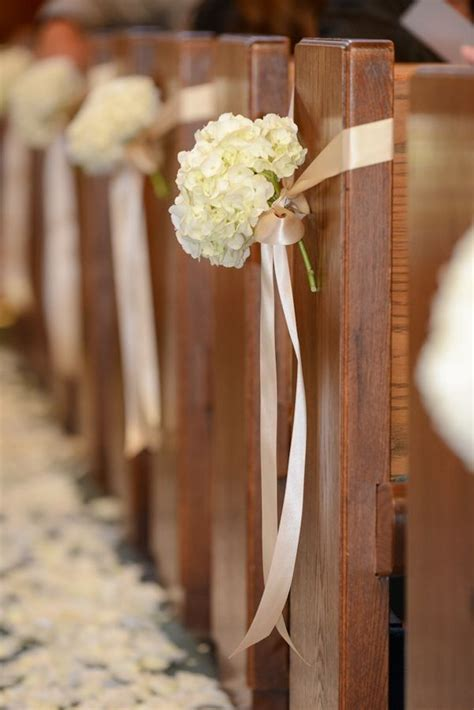 church bench decorations wedding hydrangea pew ends flowers pinterest