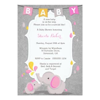 Themed Baby Shower Invitations by Elephant Theme Baby Shower Invitations Announcements